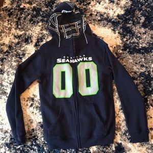 Boys Seattle Seahawks zip up hoodie with mesh face